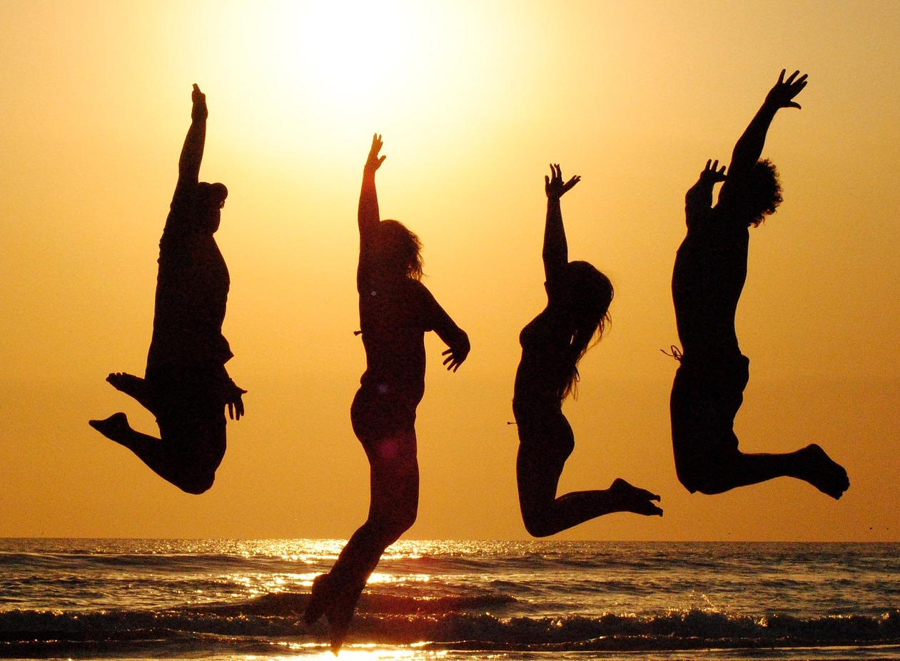 "Courtesy of <a href=""https://pixabay.com/en/sunset-beach-group-jump-people-2103130/"">Pixabay/Mandy11059</a>"