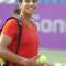 Indian Tennis Player Shikha Uberoi at the Practice session at the WTA opean at KSLTA in Bangalore on Sunday.