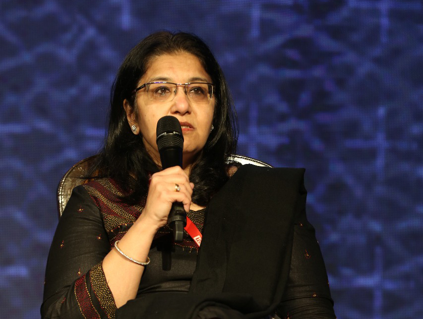 President of IAN Padmaja Ruparel takes a question at the TiE Global Summit in November 2018. Photo: TiE Delhi