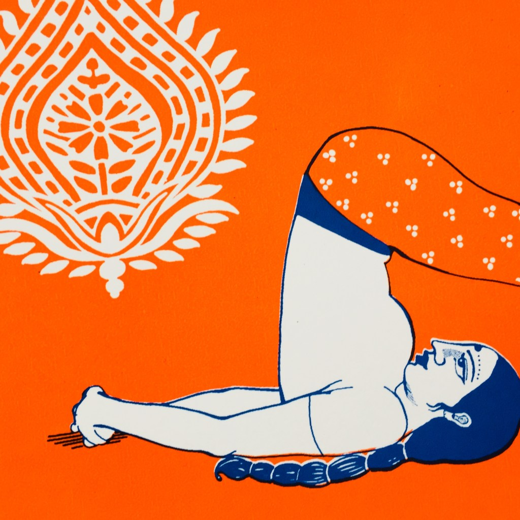 She draws voluptuous figures, inspired from the Kama Sutra