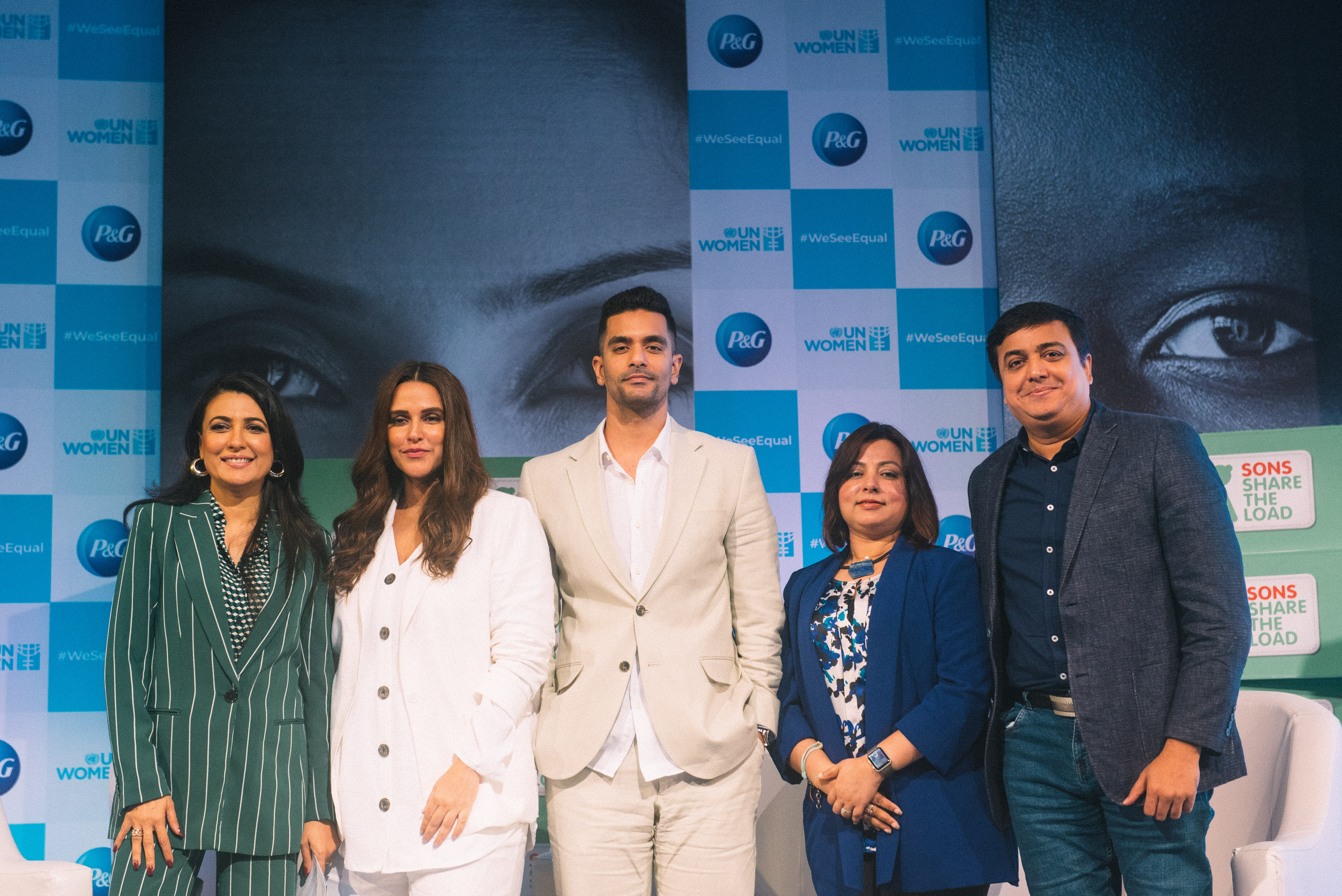 The panellists (from left) Mini Mathur, Neha Dhupia, Angad Bedi, Balaka Niyazee and Kausar Niyazee stand together for sharing the load at work, and home. Photo courtesy: P&G