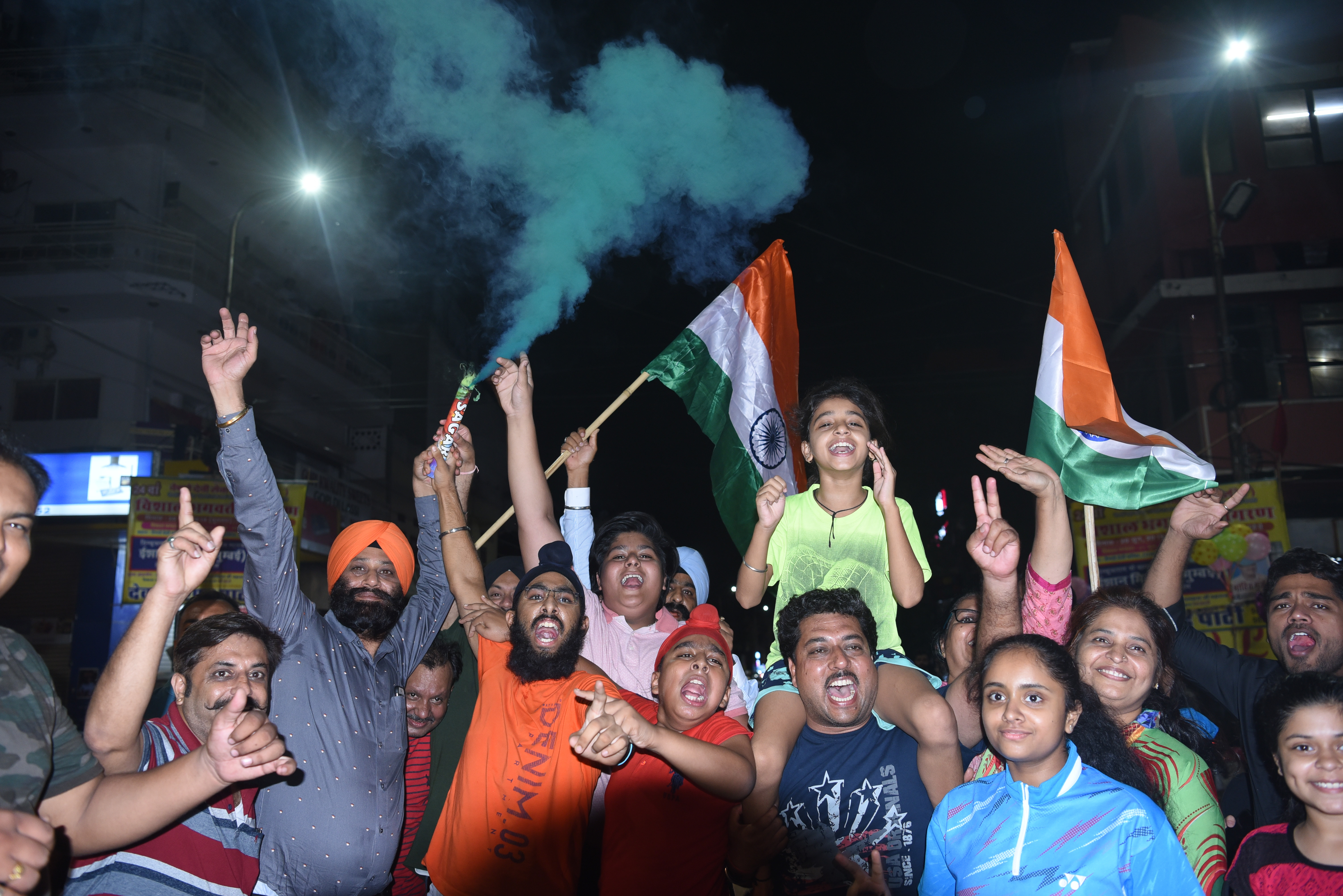 Cricket fans from Jaipur celebrate India's win against Pakistan during the World Cup cricket match at Manchester, England on 16 June 2019. Photos courtesy: The Times of India Group