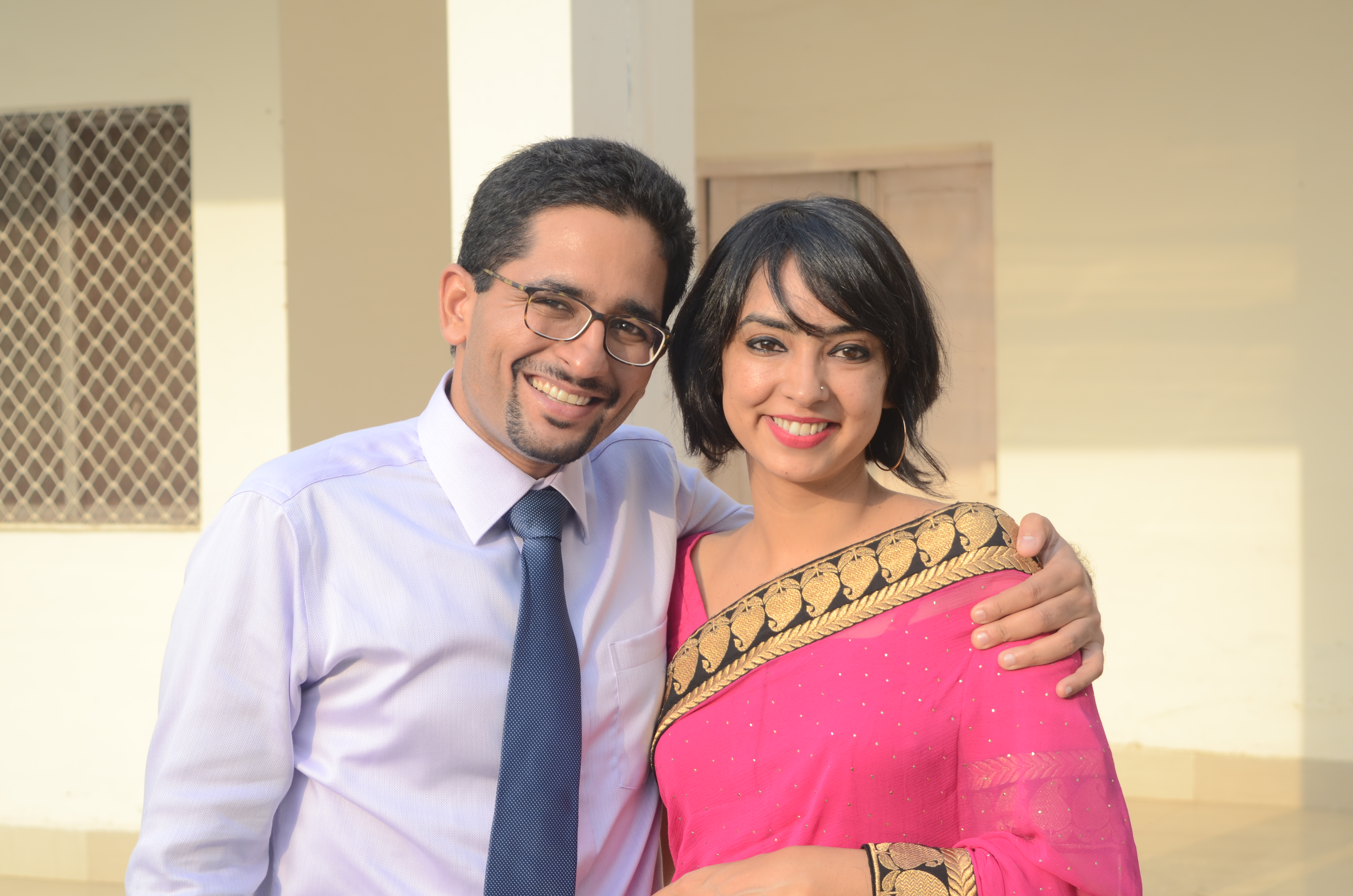 The writer with her husband. Photograph courtesy: Anusha Singh