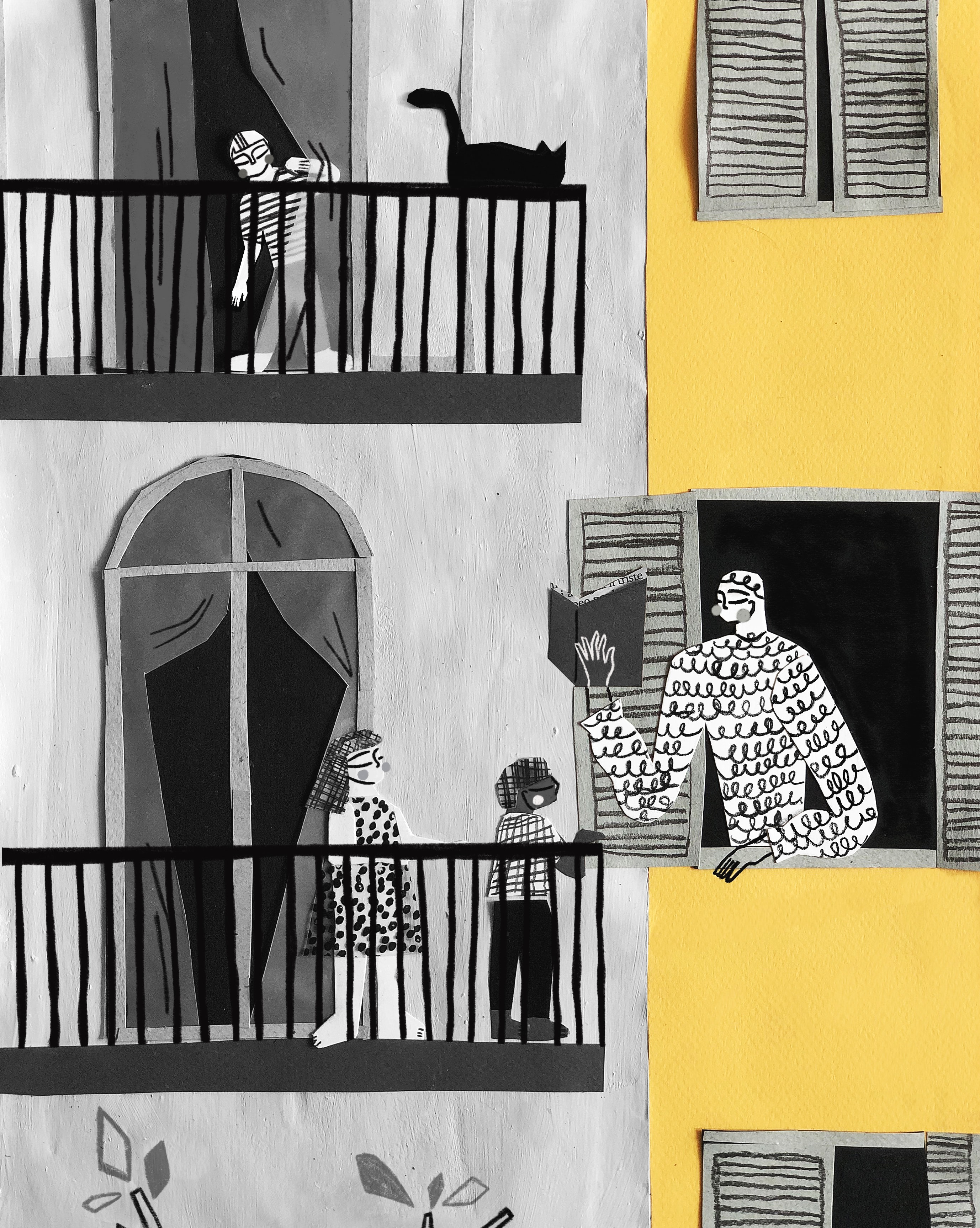 The kind neighbour. This illustration depicts how kindness between neighbours has gotten stronger now that we're facing the Covid-19 confinement. The artwork aims to honour the empathy we're feeling for one another. Image created by Fernando Cobelo. Submitted for United Nations Global Call Out To Creatives - help stop the spread of COVID-19. Courtesy Unsplash